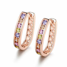 Lovely Colorful Crystal Gemstone 18K Rose Gold Filled Hoop Lady Wedding Earrings