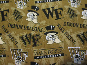 WAKE FOREST WF DEACONS TAN INLAY LOGO COTTON FABRIC FQ