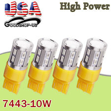 4x Amber/Yellow 7443/7440/7444NA High Power 10W Tail Brake Stop LED Light Bulbs