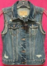 NWT Hollister Abercrombie Womens Southside Denim Destroyed Vest jacket ~ S