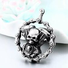 MENDEL Mens Skull Motorcycle Biker Engine Pendant Necklace Jewelry 25 Inch Chain