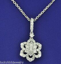 pendant 1.02 ct cluster clover flower 18k Solid White gold Natural Diamond