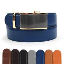 Men's Leather Ratchet Belt with Gunmetal Finesse Automatic Buckle (MGLBB14)