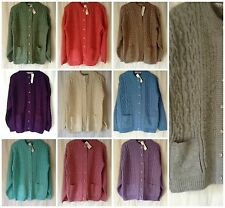 NEW LADIES PLUS SIZES 14-18 CHUNKY CABLE KNIT CREW NECK CARDIGAN WITH POCKETS