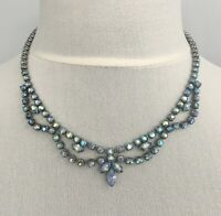 Vintage Rhinestone Necklace Blue Aurora Borealis AB Festoon 1920s Art Deco 1950s