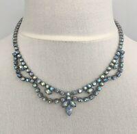 Vintage Rhinestone Necklace Blue Aurora Borealis AB Festoon 1920s Art Deco 1950s