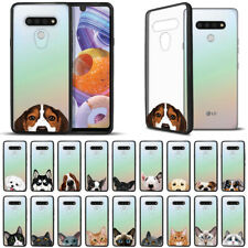"""For Lg Stylo 6 6.8"""" 2020 Dog Cat Black Hybrid Fusion Bumper Clear Case Cover"""