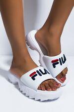 Women's FILA Disruptor ii BOLD SLIDE SANDALS White Navy Red 5SM00079-125 Size 8
