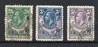 Northern Rhodesia 1925-29 2s 6d, 3s and 5s FU CDS