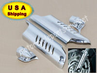 USA Chrome Fork Lower Leg Deflectors Shield Cover For Harley Touring FLHT 00-13