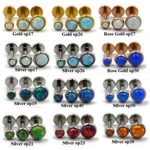 Fire Opal Ear Cartilage Tragus Helix Piercing Stud Earring Labret Lip Nose Stud