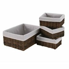 4PCS Brown Handmade Wicker Storage Baskets Home Bathroom Sundries Unit Hoppet