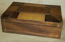 Antique 19th Century Parquetry Inlaid Wooden Treen Jewelry Work Box
