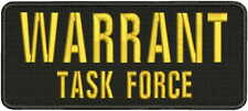 WARRANT Task Force embroidery patches 4x10 hook on back gold