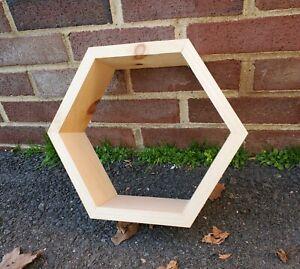 "Lot Of 6 - 11""x11"" Hexagonal (Six Sided) Unfinished Pine Wood Floating Shelves"