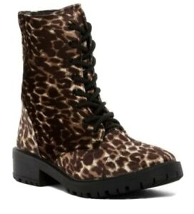 Madden Girl Leopard Print Womens Velvet Combat lace up BOOTS Size 8.5