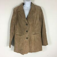 Denim & Co Womens Jacket sz L Tan Suede Leather Buttons Pockets New QVC HV3