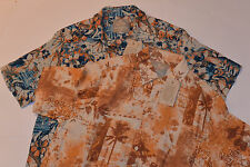 2 NEW MARGARITAVILLE MEN'S SILK/LINEN SHORT SLEEVE SHIRTS! TROPICAL PATTERNS! M
