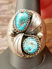 Navajo Turquoise (Vintage) Ring HEAVY THICK Sterling Silver