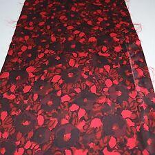 "Kimono Fabric Black Red Flower Art 88cm 34.6""inches L40"