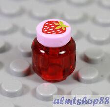 LEGO - Strawberry Jam Jar Minifigure Trans Red Pink Jelly Kitchen Food Friends