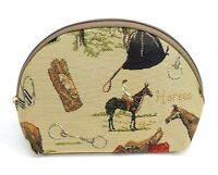 English Horse Travel Makeup Bag Cute Cosmetic Bag Pouch Equestrian Tapestry Bag