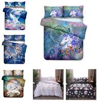 3D Bohemian Dreamcatcher Unicorn Kids Bedding Duvet Cover Pillowcase Quilt Cover