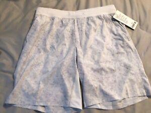 """Brand New Lululemon T.H.E. Shorts 9"""" Linerless Sz XL Gravel Dust Alpine White"""