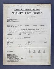 IMPERIAL AIRWAYS AIRCRAFT TEST REPORT AIRLINE FORM STAFF