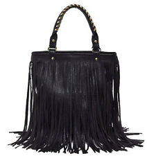 Lady Punk Tassel Fringe PU Leather Handbag Satchel Shoulder Bag Purse Hobo Tote
