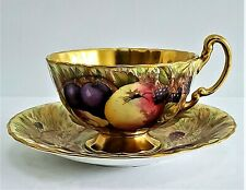 ORCHARD GOLD by Aynsley~Footed CUP & SAUCER Set~Signed N. Brunt 🌺