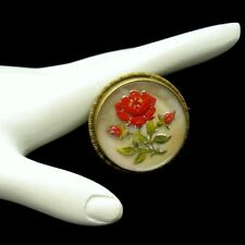 Victorian Vintage Encased Lucite Red Rose Flower Brooch Pin Mother of Pearl