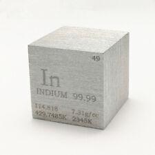 Indium Metall 25.4mm Würfel 99.99% Markiert Periodensystem Elementesammlung