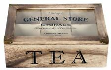 Rustic Vintage Style General Store 6 Compartment Wooden Tea Bag Box Chest