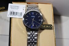 Seiko Men's Neo Classic Blue Dial Watch Silver-Tone Polished Stainless Steel
