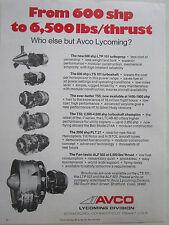 6/1975 PUB AVCO LYCOMING TURBOPROP TURBOSHAFT ORIGINAL AD