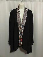 Yasuko Japanese Art To Wear Jacket Black Colorful Silk Kimono Trim S M