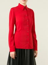 DOLCE & GABBANA 750$ Authentic New Classic Silk Red Stretch Blouse Top sz 36 0