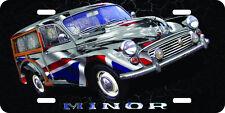 Morris Minor Traveller airbrushed aluminum original art painting license plate