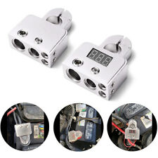 2PCS Digital Voltmeter Car Battery Terminal Connectors 0/4/8 AWG Alloy Universal