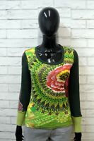 DESIGUAL Pullover Donna XS Maglione Maglia Cardigan Verde Sweater Women Cotone