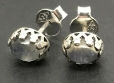 Rainbow moonstone oval stud earrings, fancy crown setting, 7 x 5mm, UK.