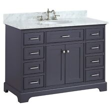 48 inch Solid Wood  Bathroom Vanity Cabinet in grey/charcoal with Carrara Marble