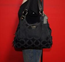 COACH Madison OP ART Black Sateen & Leather Hobo Slouch Shoulder Purse Bag 14305