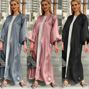 Dubai Women Robe Puff Sleeve Muslim Kaftan Long Dress Open Cardigan Jilbab Abaya