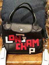 Longchamp Le Pliage Cuir Applique Limited Edition Black Authentic EUC