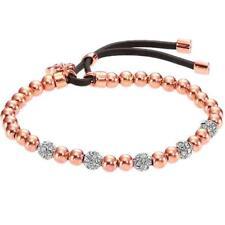 Crystal Bead Stretch Lock Rose Gold Plated Lock Pendant Gold Brand Bracelets