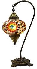 GRANDE Stile Turco Marocchino mosaico tavolo da comodino Tiffany Swan Lampada Luce, Multi