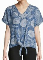 John Paul Richard Womens Blouse Blue Size Large L Floral Print Tie Front $38 045