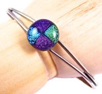 "Dichroic GLASS Cuff Bracelet ADJUSTABLE Bangle Purple Teal Green Round 1/2"" 12mm"